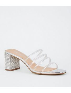 Silver Metallic Diamanté Clear Strap Mules by New Look