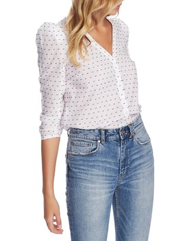 Puff Sleeve V Neck Clip Dot Top by 1.State