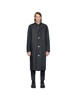Indigo Denim Long Trench Coat by S.R. Studio. La. Ca.