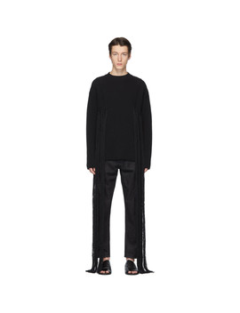 Black Rib Knit Fringe Sweater by Jil Sander