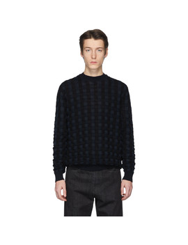 Black & Navy Basket Wool Sweater by Jil Sander