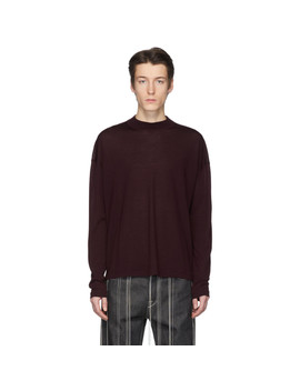 Burgundy Virgin Wool Sweater by Jil Sander