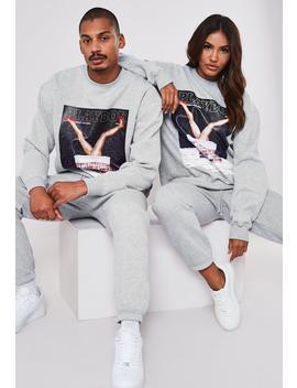 Playboy X Missguided Gray Christmas Chimney Magazine Print Sweatshirt by Missguided