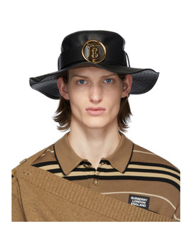 Black Lambskin Monogram Desert Hat by Burberry