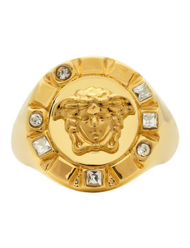 Gold Palazzo Crystal Medusa Round Ring by Versace