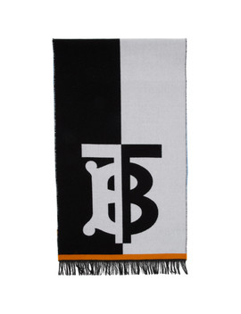 Blue & White Wool Football Scarf by Burberry