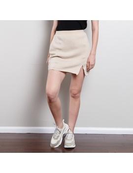 Vintage High Waisted Merino Wool Skirt by Vintage