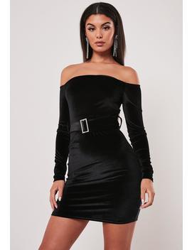 Black Velvet Self Belted Bardot Dress by Missguided