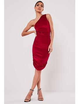 Red Velvet One Shoulder Ruched Mini Dress by Missguided