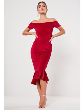 Red Velvet Bardot Fishtail Midi Dress by Missguided
