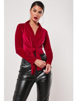 Petite Red Velvet Twist Front Bodysuit by Missguided