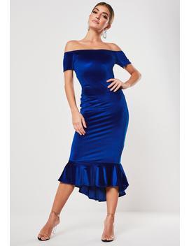 Blue Velvet Bardot Fishtail Midi Dress by Missguided