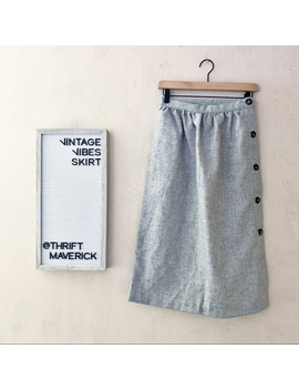 Grey Aline Skirt Featuring Side Buttons | Vintage by Vintage