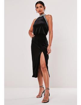 Black Velvet Pearl High Neck Midi Dress by Missguided