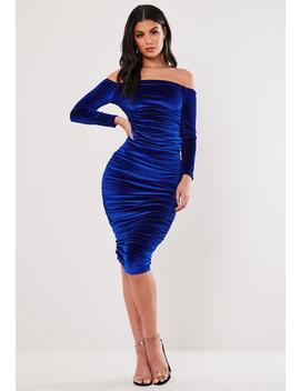 Blue Velvet Ruched Bardot Midi Dress by Missguided