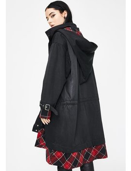 Stitching Hooded Longline Coat by Punk Rave