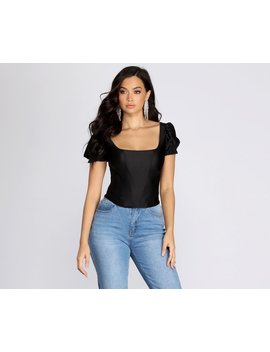 Play On Puff Sleeve Corset Top by Windsor