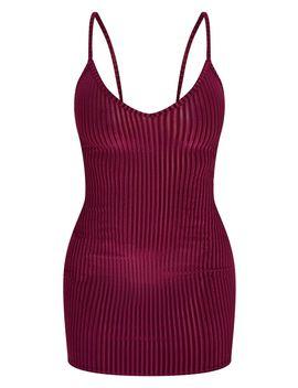 Burgundy Velvet Ribbed Strappy Bodycon Dress by Prettylittlething