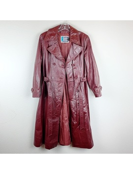 Vintage Rusty Red Brown Leather Trench Coat B214 by Vintage
