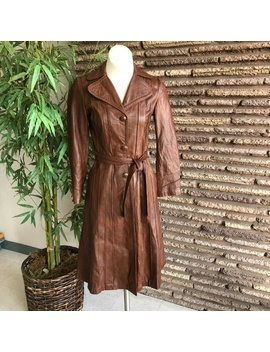 Vintage Mexican Brown Leather Fitted Trench Coat S by Vintage