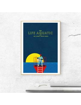 The Life Aquatic Poster Featuring Bowie And Seu Jorge   Illustrated Movie Poster   Matte And Giclee Art Prints   Graphic Wall Art by Etsy