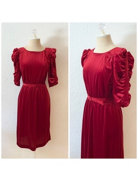 Vintage Red Velvet Belted Holiday Dress 70s Xs by Vintage