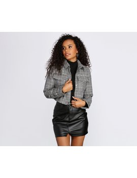 Double Pocket Plaid Crop Jacket by Windsor