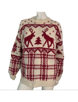 Vintage Sweater Wool Holiday Unisex Over Sized Ski by Vintage