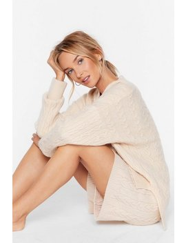 Oversized Knitted Cable Longline Lounge Short Set by Nasty Gal