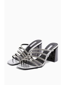 Rhonda Silver Tube Bling Mules by Topshop