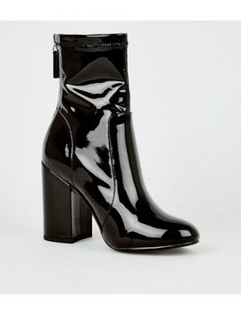 Black Patent Block Heel Boots by New Look
