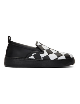 White & Black Maxi Intrecciato Slip On Sneakers by Bottega Veneta