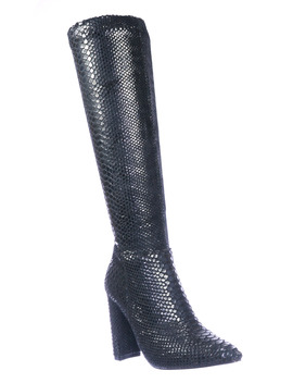 Zera1 By Glaze, Snake Embossed Boots   Women Pull On Chunky Block High Heel by Glaze