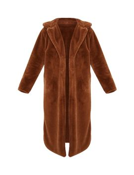 Dark Brown Maxi Faux Fur Coat  by Prettylittlething