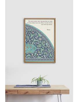 Rumi Quote Of Your Choice I Positivity, Love I Green Blue Turkish Tile Pattern I Wall Art Print I Frame Not Included by Etsy