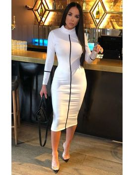 White Ribbed High Neck Bodycon Midi Dress   Sky by Femme Luxe