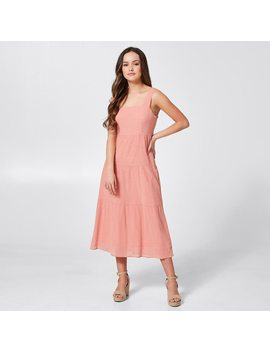 Dannii Minogue Petites Square Neck Tiered Dress   Pink by Target