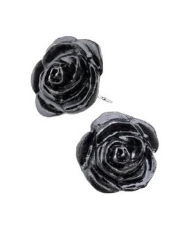 Black Rose Stud Earrings By Alchemy Gothic by The Gothic Shop