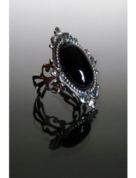 Sinistra Black Onyx Gothic Ring By Dark Elegance Designs by The Gothic Shop