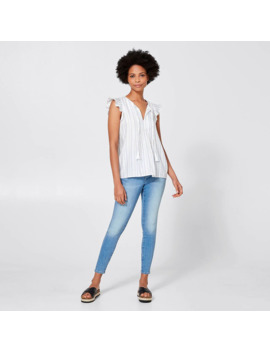 Rosie Pleated Front Blouse   Textured Blue/White Stripe by Target