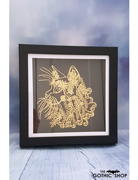 Cat Mandala Gold Foil Gothic Framed Picture by Nocturnis