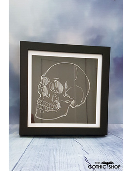 Fierce Skull Silver Foil Gothic Framed Picture by Nocturnis