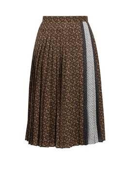 Marine Tb Print Pleated Crepe Midi Skirt by Burberry