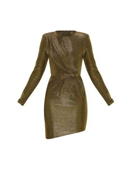 Gold Metallic Glitter Long Sleeve Drape Detail Bodycon Dress by Prettylittlething
