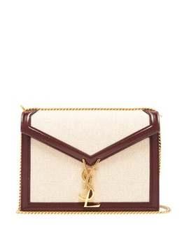 Cassandra Leather Trimmed Canvas Shoulder Bag by Saint Laurent