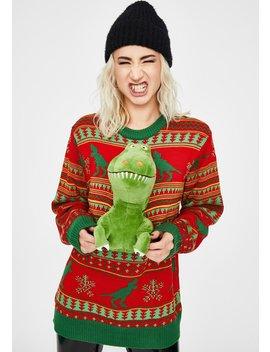 Rex The Halls 3 D Dinosaur Sweater by Dolls Kill