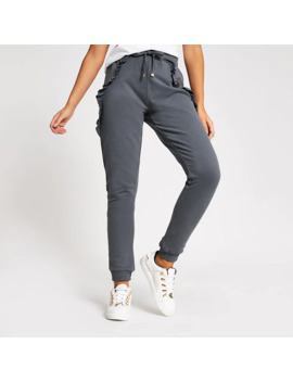 Grey Frill Side Loose Fit Joggers by River Island