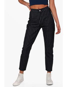 High Rise Stripe Skinny Tube Jeans by Boohoo