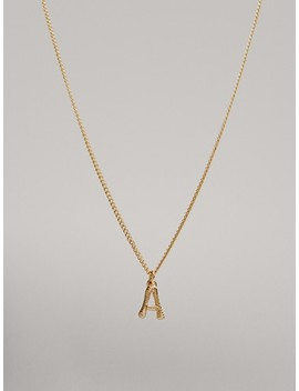 Gold Plated Letter A Necklace by Massimo Dutti