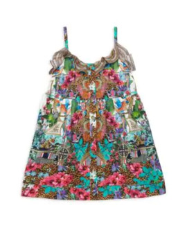 Little Girl's & Girl's Print Button Up A Line Dress by Camilla